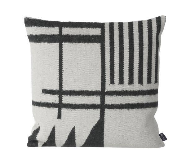 Ferm Living Monochrome with Black Lines Kelim Cushion