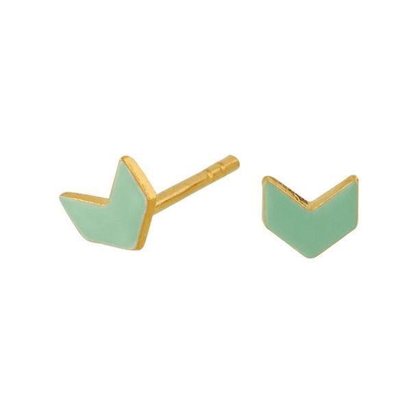 Scherning Arrow Mint & Gold Stud Earrings