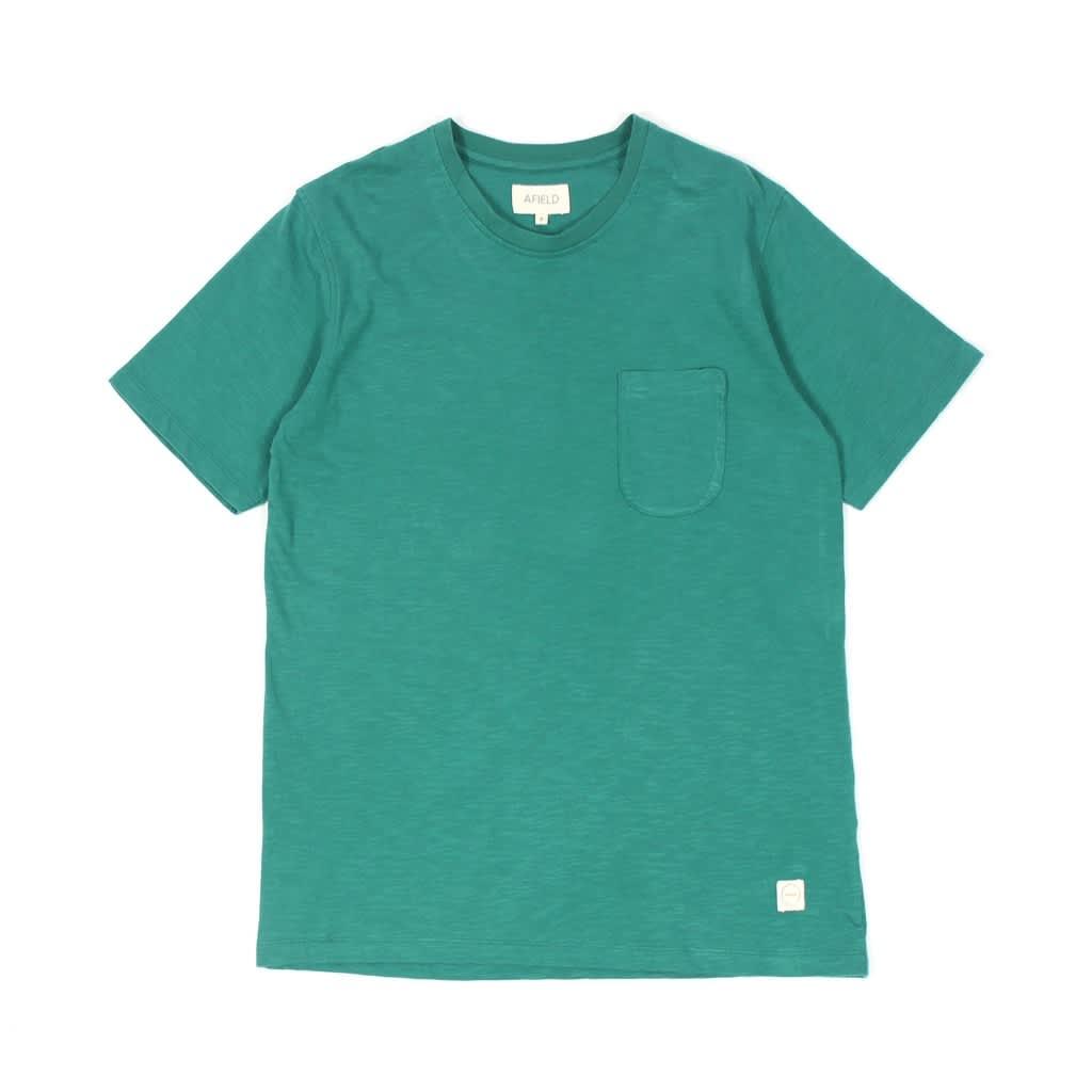 Afield Green Plain Pocket Crew Shirt