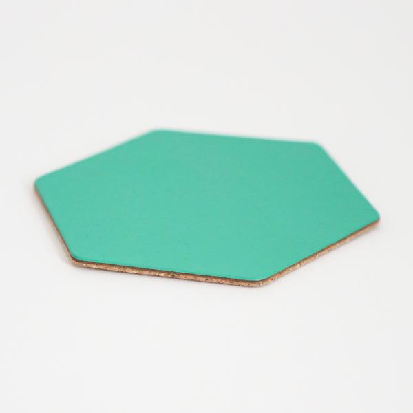 Berylune Seafoam Leather Hexagon Coaster