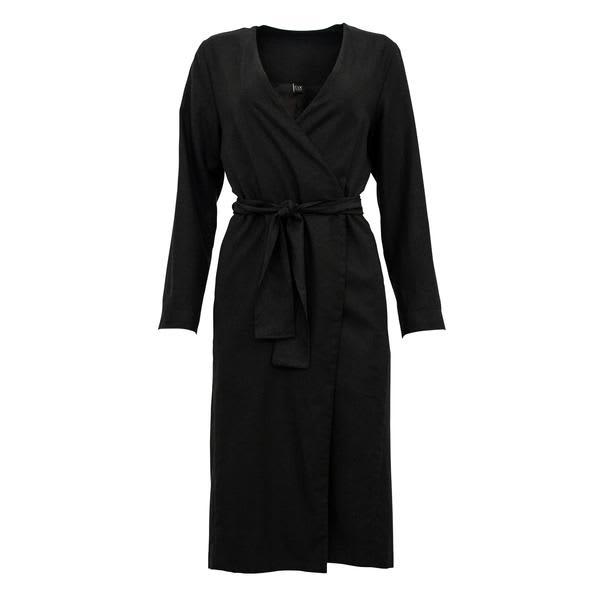 Corvera Vargas Black Zurich Linen Long Jacket