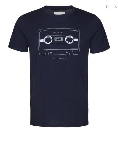 Armedangels Navy James Mix Tape T Shirt