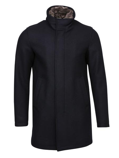 Herno Navy Overcoat With Beaver Trim