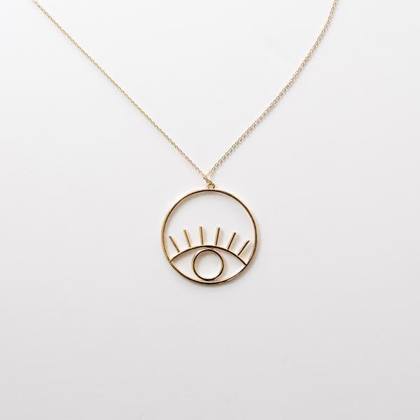 Big Metal Eye Pendant Necklace