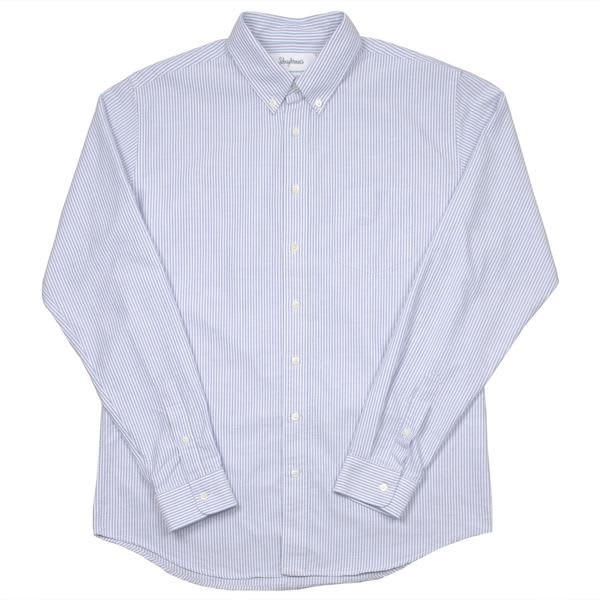 Schnayderman's Blue White Regular Stripe  Oxford Shirt