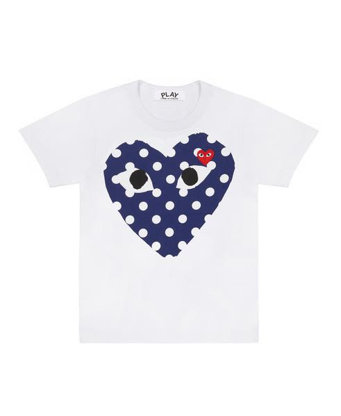 Comme Des Garcons Play White PLAY T-Shirt With Polka Dot Printed Heart