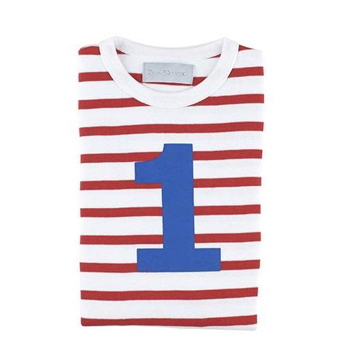 Bob and Blossom Red White Stripe Number T Shirt