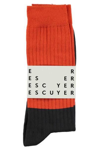Escuyer Spicy Orange Asphalt Colour Block Socks
