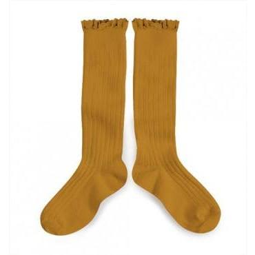 Collégien  Mustard Knee Socks With Lace