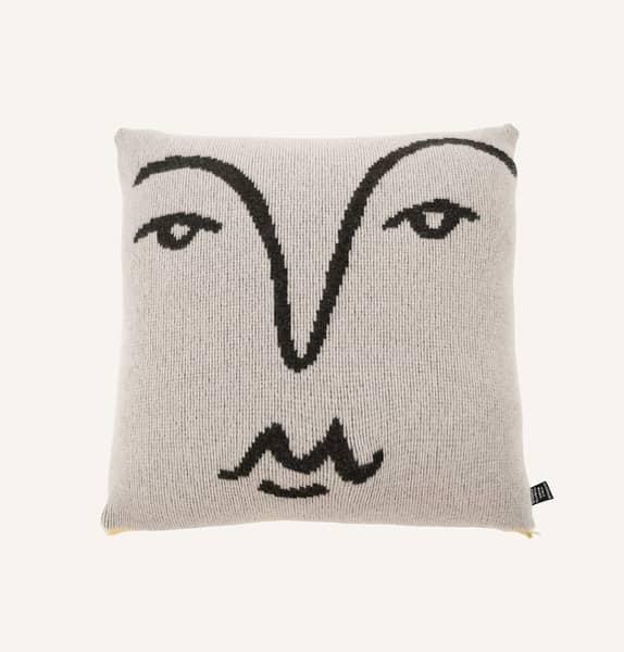Giannina Capitani   Alice Dansey Wright Face Cushion Black