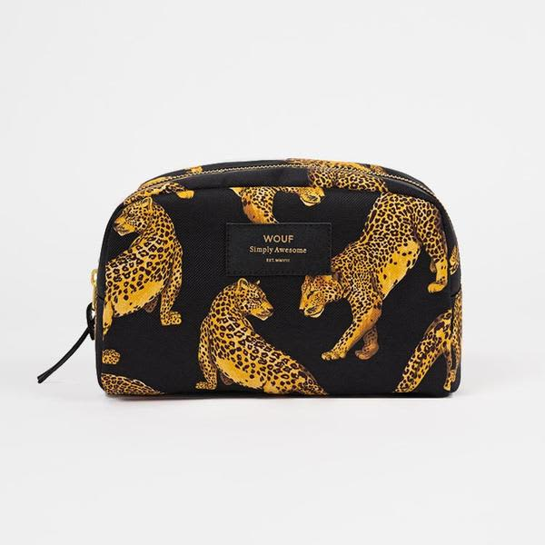 Wouf Big Black Leopard Beauty Bag