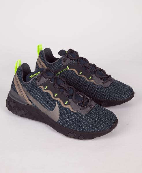 Nike Navy Grey React Element 55 Armory Trainers