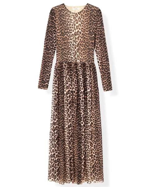 Ganni Leopard Printed Mesh Maxi Dress