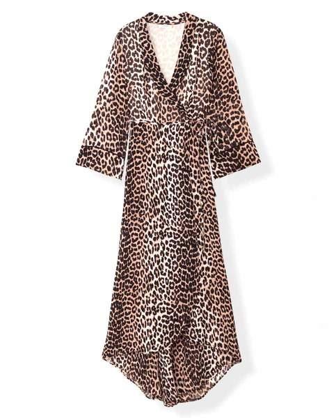 Ganni Leopard Printed Georgette Wrap Dress