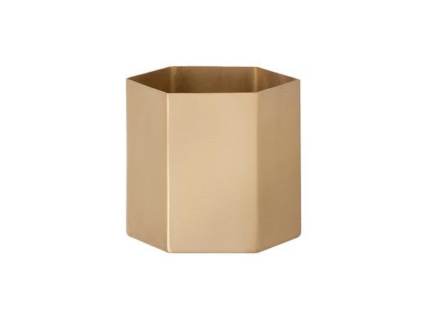 Ferm Living Large Brass Hexagon Pot