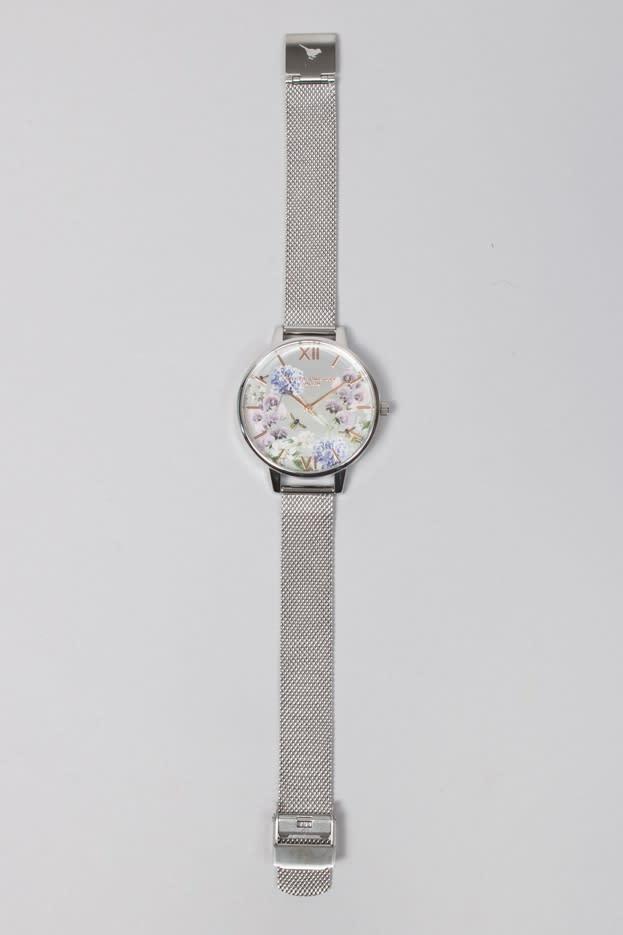 Olivia Burton Silver Parlour Bee Floral Silver Mesh Watch