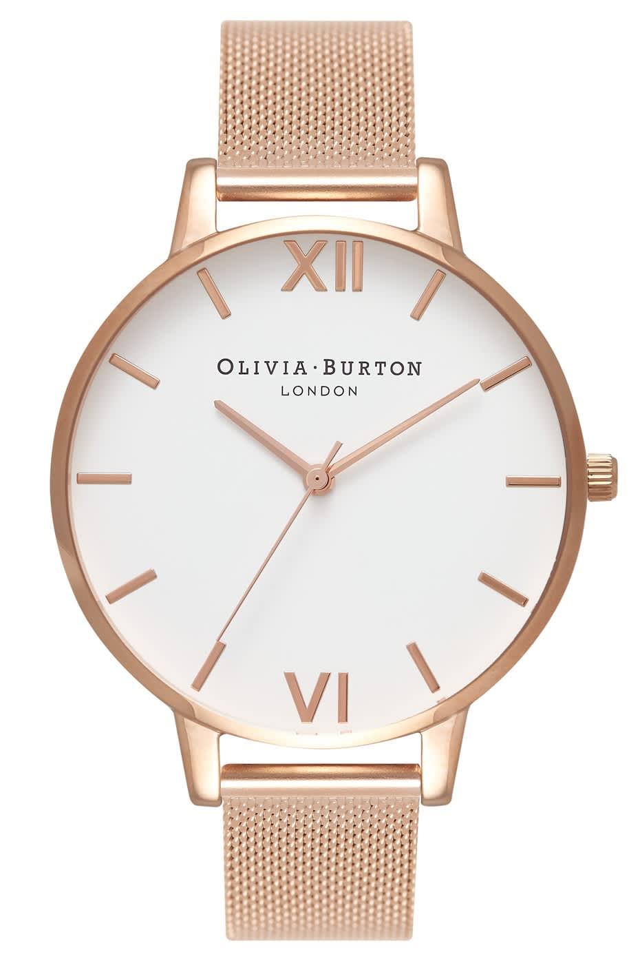 Olivia Burton Rose Gold Mesh Big Dial Watch