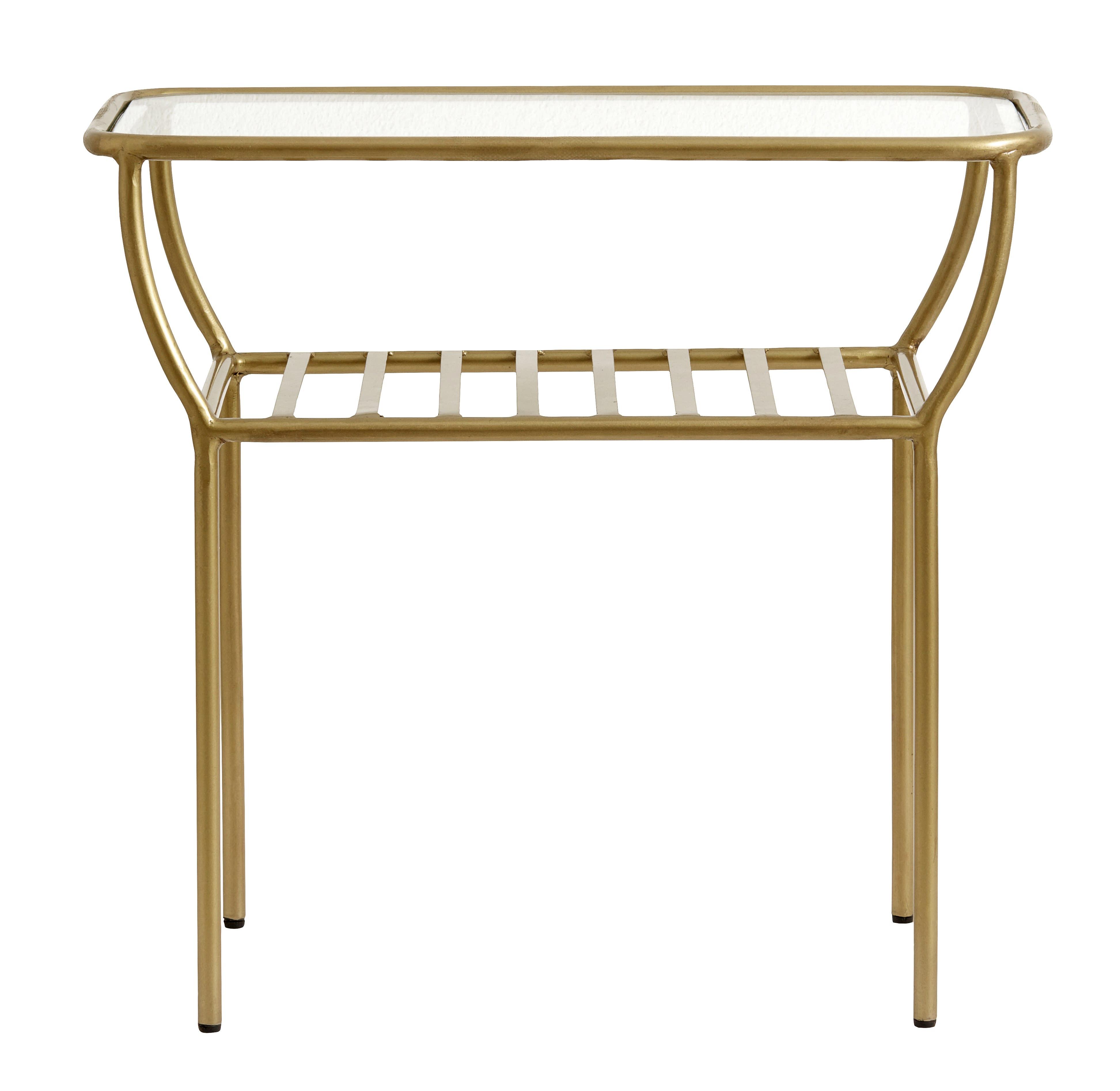 Nordal Side Table Golden W Glass Plate Bars