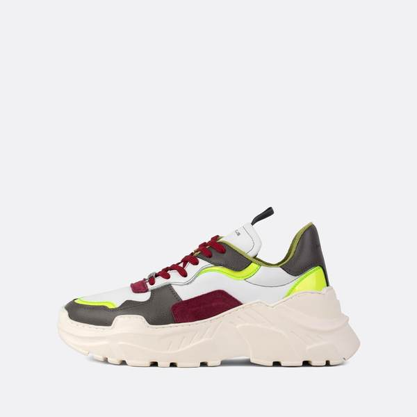 Ambitious White Grey Red Multicolored Runners