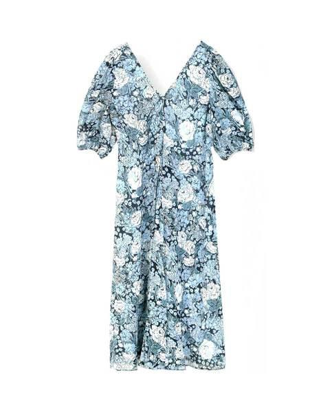 Ganni Puff Sleeve Georgette Dress Heather