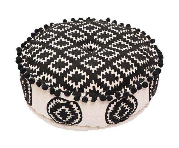Bombay Duck Aztec Monochrome Embroidered Pouff