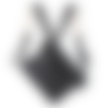 Murphy Black Lacquered Canvas Rolltop Shoulder Bag / Backpack