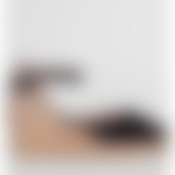 Toni Pons Black Lloret 5 Suede Wedge Espadrille Shoes