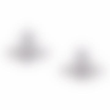 Boucles d'oreilles Grace en cristal de rhodium avec bas relief