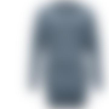 Format Tjok Striped Blue Ecru Single Long Sleeved Dress