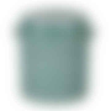Teal  Enamel Stoneware Cylinder Pot