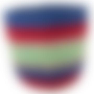 Blue & Red Stripe Kenyan Handwoven Basket
