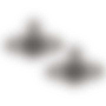 Boucles d'Oreilles Bas Relief en Diamants Noirs Ruthenium