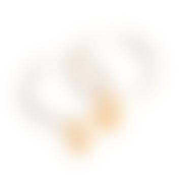Small Flower Bud Hoop Earrings - Gold