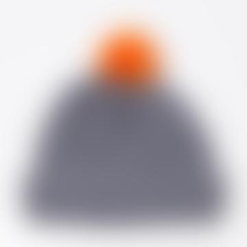 Grey Orange Battleship Knitted Bobble Hat