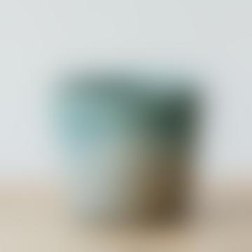 Pot émaillé craquelé deux tons turquoise