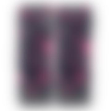Somerville Navy Grey Pink Leopard Cashmere Wrist Warmers