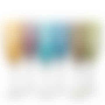 - Set of Six Multicoloured Cut Glass Champagne Flutes
