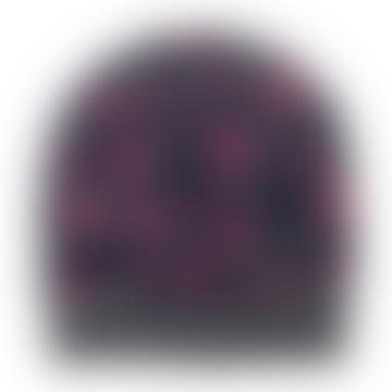 Grey Pink Leopard Cashmere Beanie Navy
