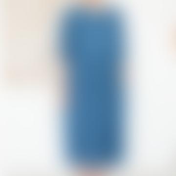 Denim Casual Long Sleeve Dress Blue Cotton - Titally