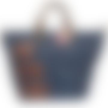 Blue Faux Leather Jet Lag Adventure Weekend Bag