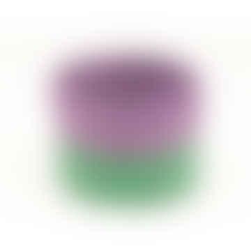 Small Purple & Green Block Colour Woven Basket