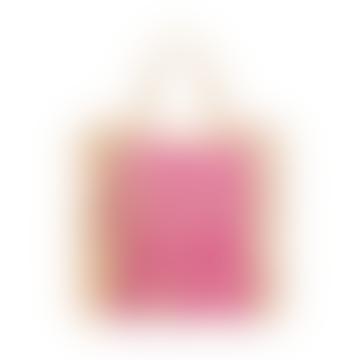 Nooki Design Pink Leopard Embroidered Raffia Shopper Bag