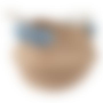 31 x 31cm Blue and Grey Natural Fiber Pompoms Basket