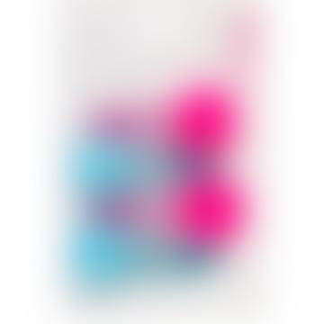 pink and blue pom pom glitter hair slides