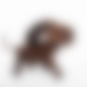 13 Cm Walnut And Leather Bobby Dog Figurine