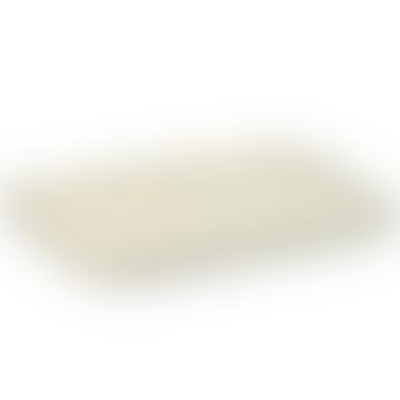 Très grand plateau Merci N1 rectangulaire en grès blanchi