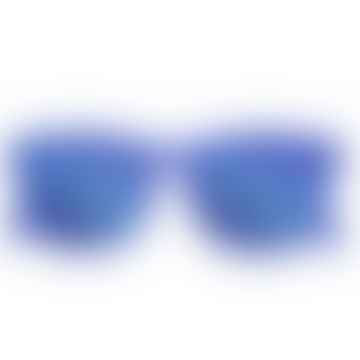 Limited Edition King Blue Trapeze Sunglasses with Mirror Blue Lenses