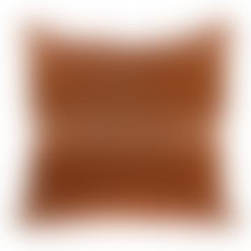 Velvet fringe cushion peach/brown 50x50