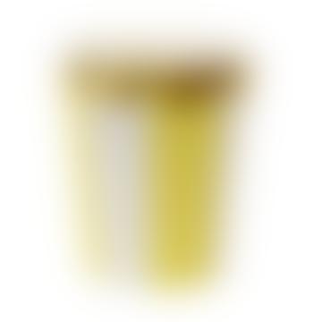 Paquet de 8 tasses jaunes à rayures éventail