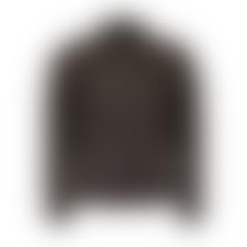 Dark Brown Leather Racer Jacket